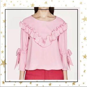 Zara Basic Pink Ruffle Bell sleeve top Small (D5)